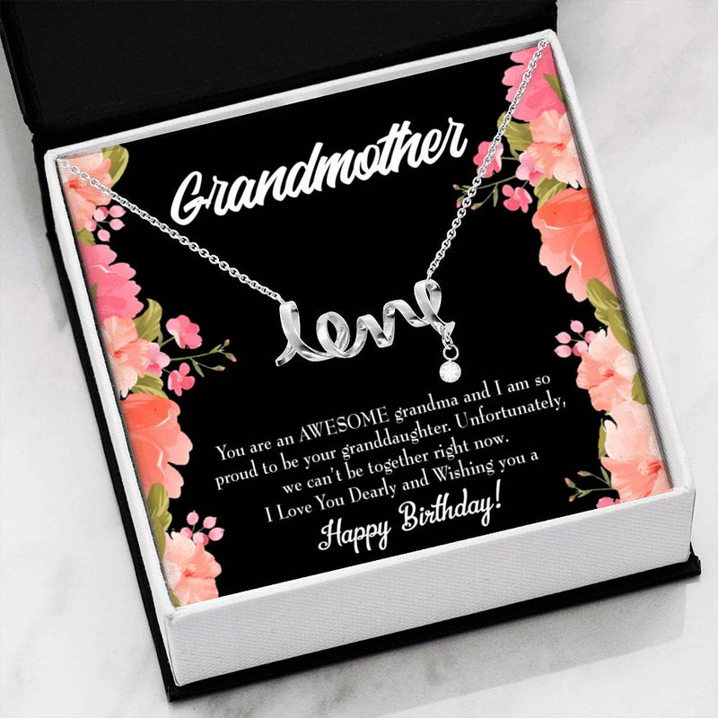 Grandmother Jewelry Gift, GrandDaughter Grandma Birthday, GrandMother Keepsake Card, Stainless Steel Necklace, Birthday Gift