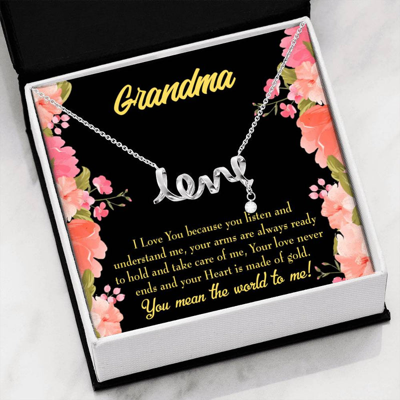 Grandmother Jewelry Gift, Grandma World, Grandma Mothers Day Keepsake Card, Stainless Steel Necklace, Birthday Gift