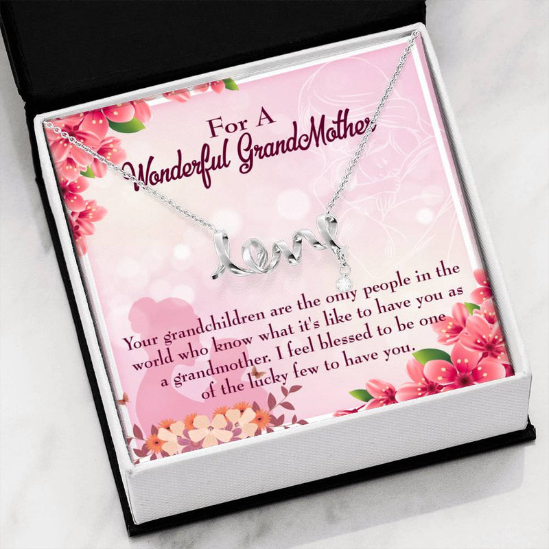 Grandmother Jewelry Gift, Grandchild to Grandma, Grandmother Keepsake Card, Stainless Steel Necklace, Birthday Gift