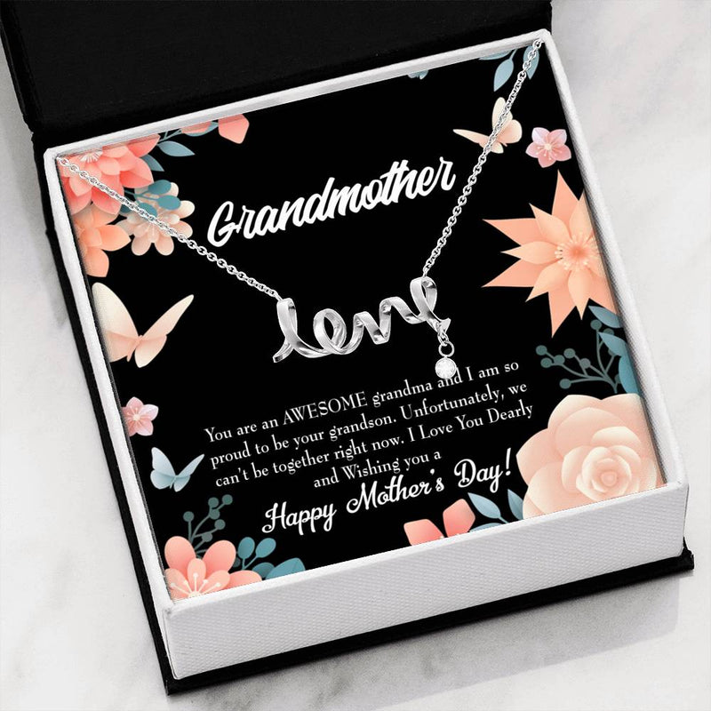 Grandmother Jewelry Gift, Mothers Day Grandson Gift, Grandma Mothers Day Keepsake Card, Stainless Steel Necklace, Birthday Gift