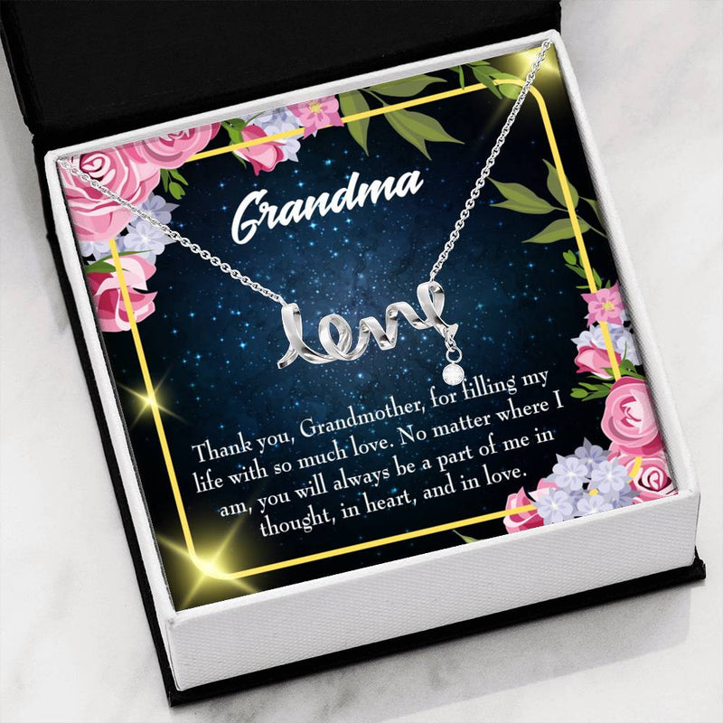 Grandmother Jewelry Gift, Grandma Mothers Day Keepsake Card, Grandma Part of Me, Stainless Steel Necklace, Birthday Gift