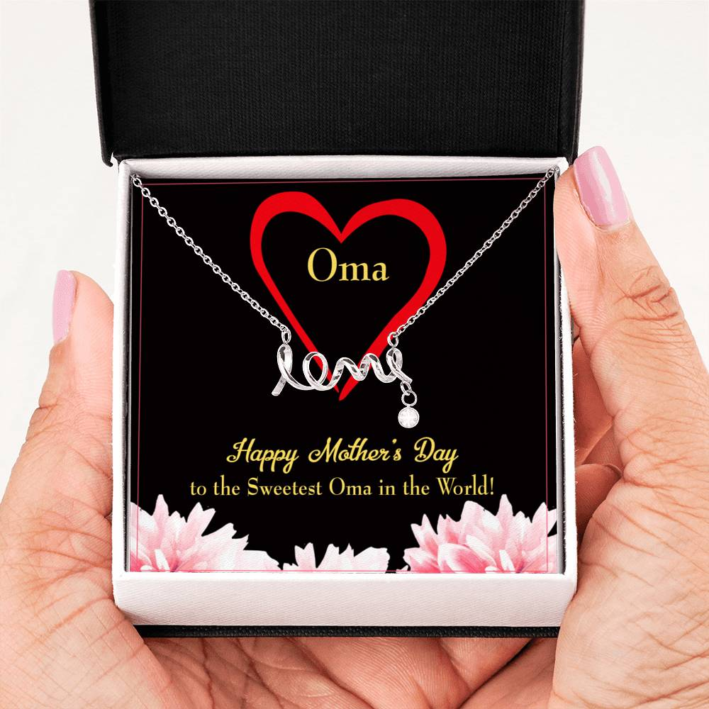 Grandmother Jewelry Gift, Oma Grandma Mothers Day Keepsake Card, Stainless Steel Necklace, Birthday Gift
