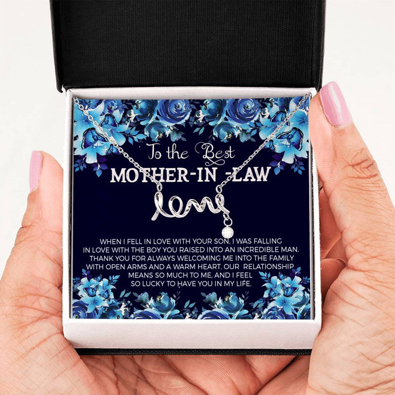 Best Mother-in-Law, Scripted Love Necklace Stainless Steel Message Card, Jewelry Gift
