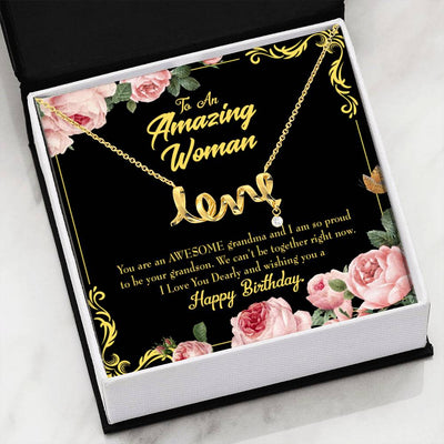 Grandmother Jewelry Gift Grandson to Grandmother Birthday Grandma Mothers Day Keepsake Card Stainless Steel Necklace Birthday Gift