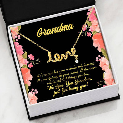 Grandmother Jewelry Gift Family to Grandma GrandMother Keepsake Card Stainless Steel Necklace Birthday Gift