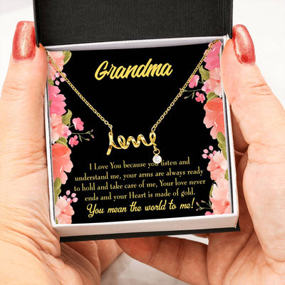 Grandmother Jewelry Gift Grandma World Grandma Mothers Day Keepsake Card Stainless Steel Necklace Birthday Gift