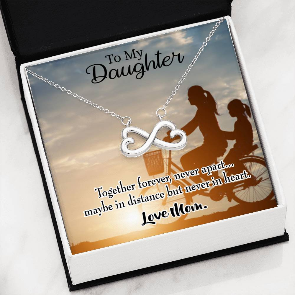 Together Forever Mother Daughter,Infinity Love Necklace, Heartfelt Daughter Card & Pendant Stainless Steel or 18k Gold