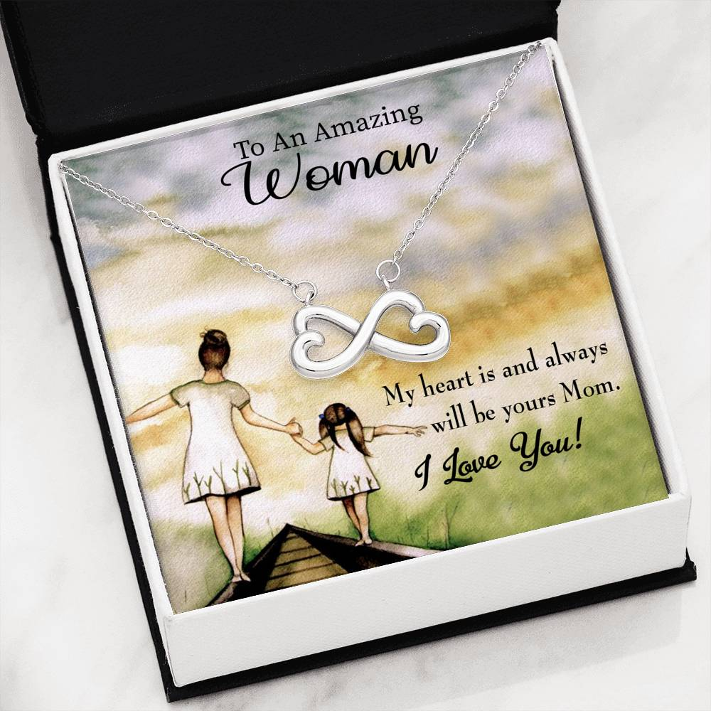 To Mom, You Always Have my Heart, Infinity Stainless Steel Pendant Message Card, Jewelry Gift