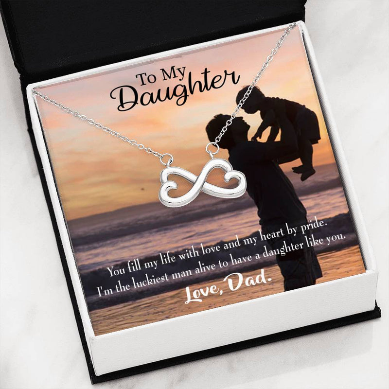 Luckiest Dad, Infinity Love Necklace, Heartfelt Daughter Card & Pendant Stainless Steel or 18k Gold