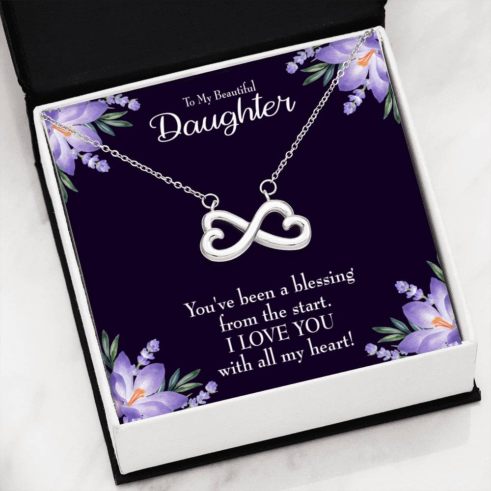 To My Daughter your a Blessing ,Infinity Love Necklace, Heartfelt Daughter Card & Pendant Stainless Steel or 18k Gold