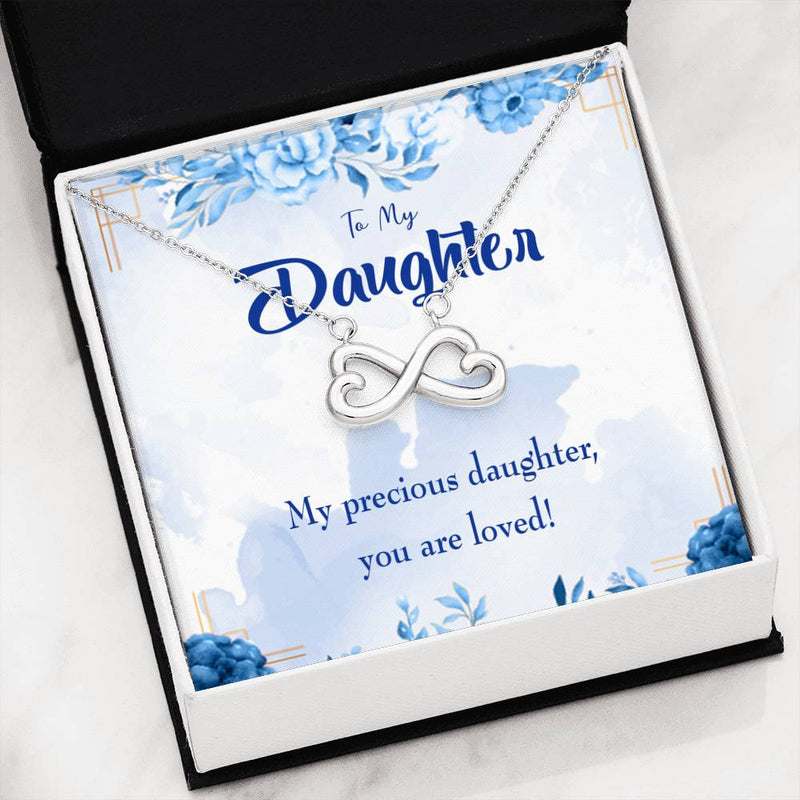 Precious Daughter, Infinity Love Necklace, Heartfelt Daughter Card & Pendant Stainless Steel or 18k Gold