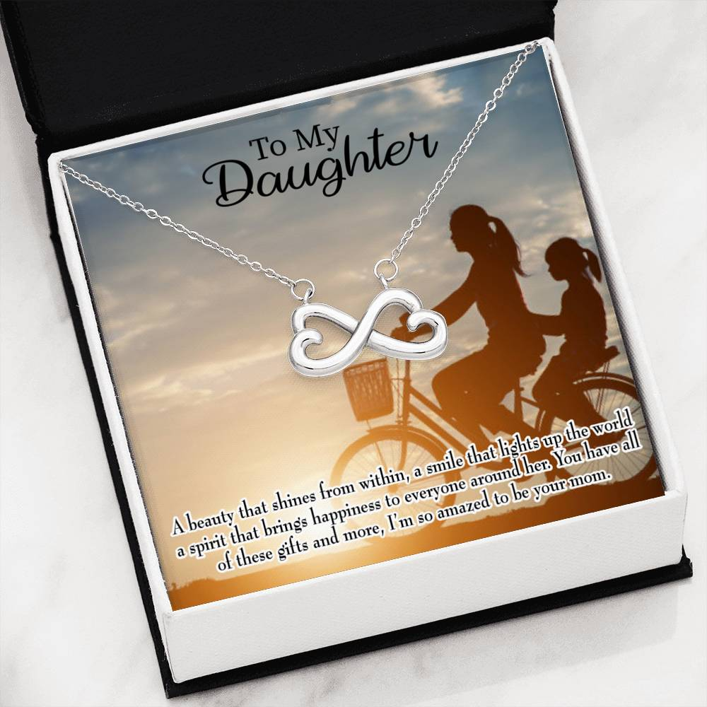 Amazed to be Your Mom, Infinity Love Necklace, Heartfelt Daughter Card & Pendant Stainless Steel or 18k Gold