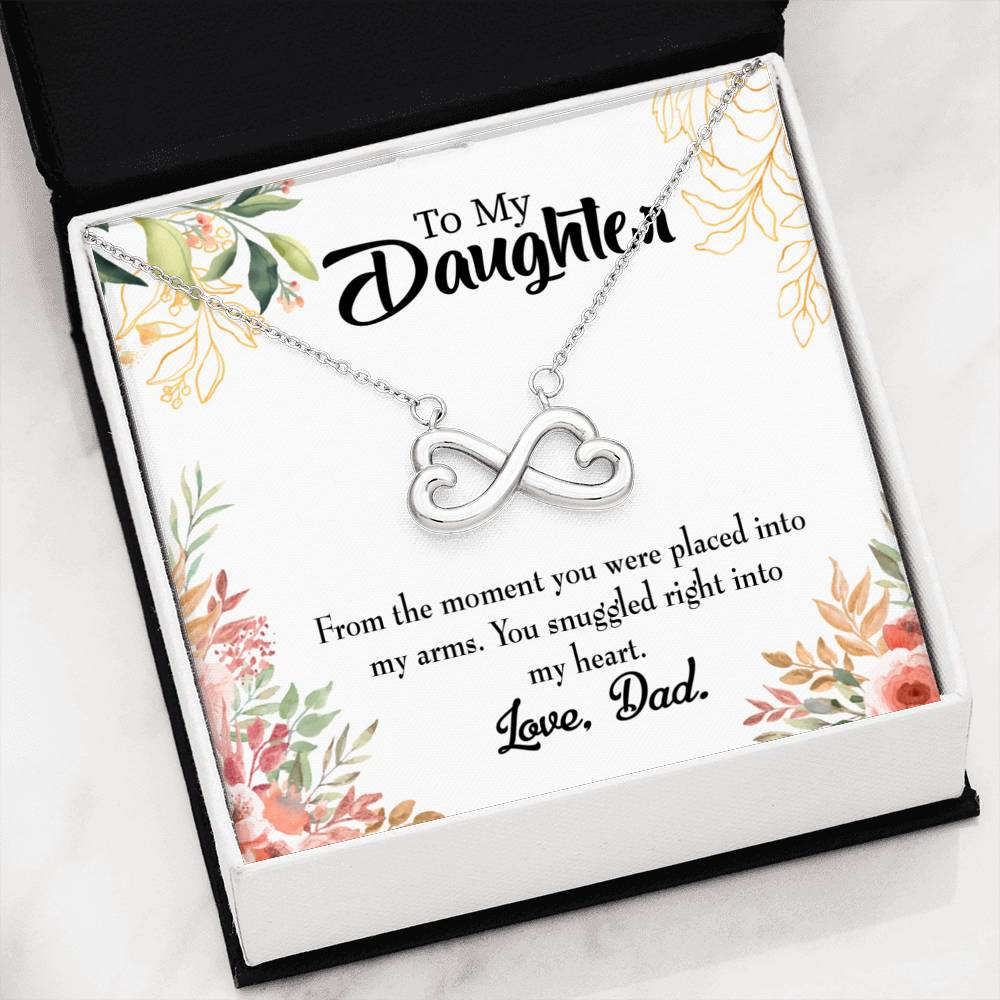 Snuggled into my Heart, Dad ,Infinity Love Necklace, Heartfelt Daughter Card & Pendant Stainless Steel or 18k Gold
