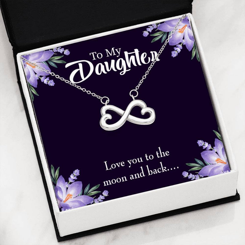 Love You to the Moon and Back, Infinity Love Necklace, Heartfelt Daughter Card & Pendant Stainless Steel or 18k Gold