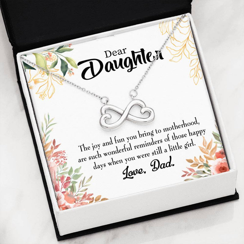 Wonderful Reminder Daughter ,Infinity Love Necklace, Heartfelt Daughter Card & Pendant Stainless Steel or 18k Gold