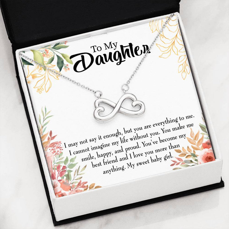 My Sweet Baby Girl, Infinity Love Necklace, Heartfelt Daughter Card & Pendant Stainless Steel or 18k Gold