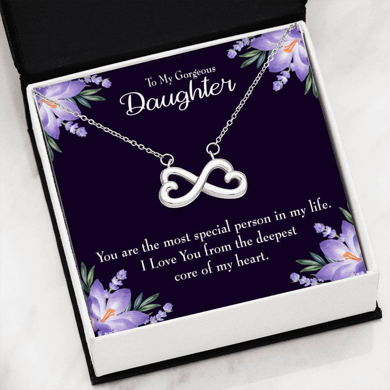 To my Gorgeous Daughter, Infinity Love Necklace, Heartfelt Daughter Card & Pendant Stainless Steel or 18k Gold