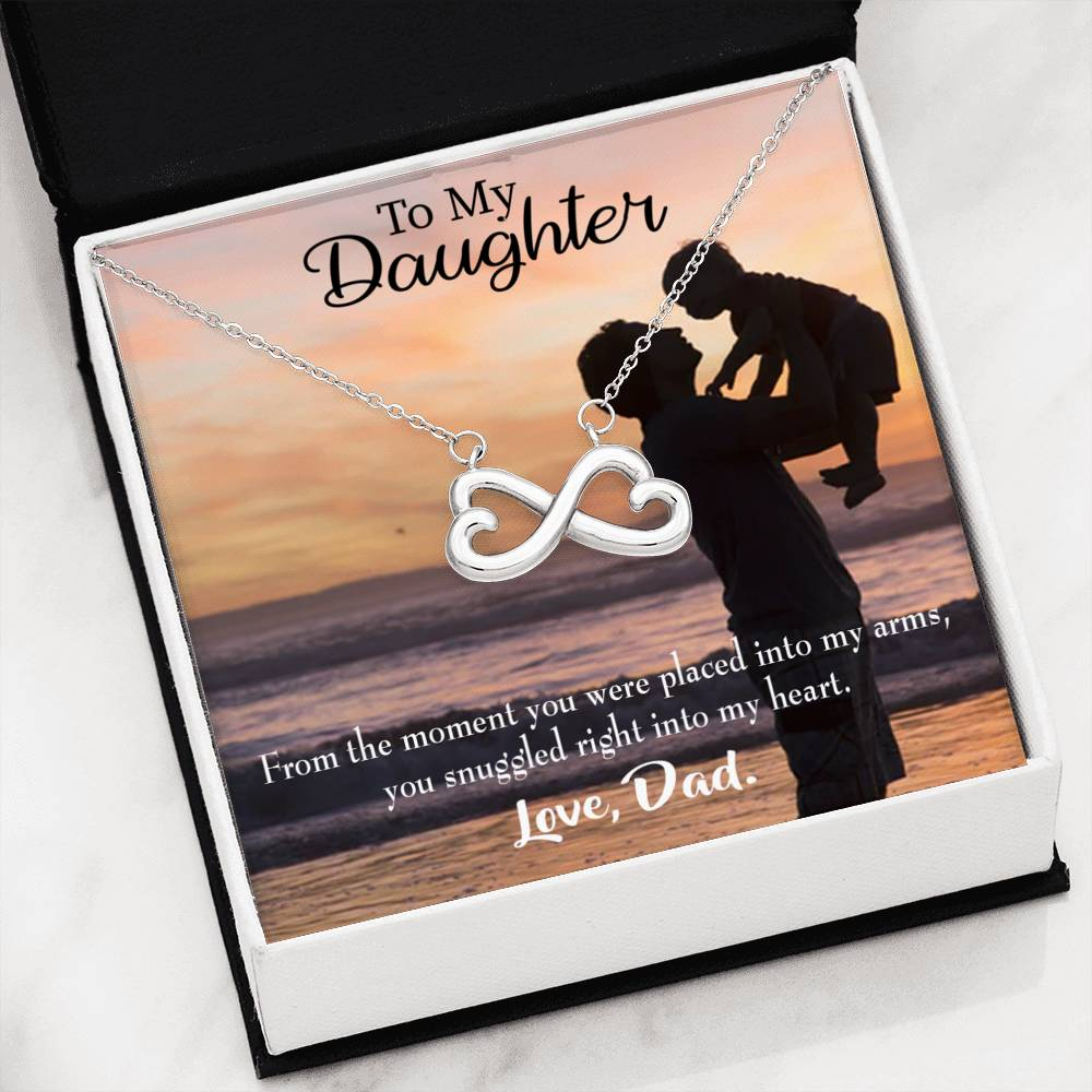 You are in Dad's Heart, Infinity Love Necklace, Heartfelt Daughter Card & Pendant Stainless Steel or 18k Gold