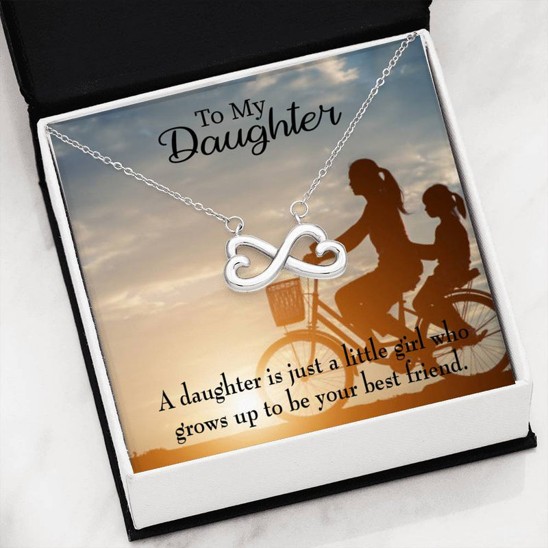 Mom's Little Girl Bestfriend, Infinity Love Necklace, Heartfelt Daughter Card & Pendant Stainless Steel or 18k Gold