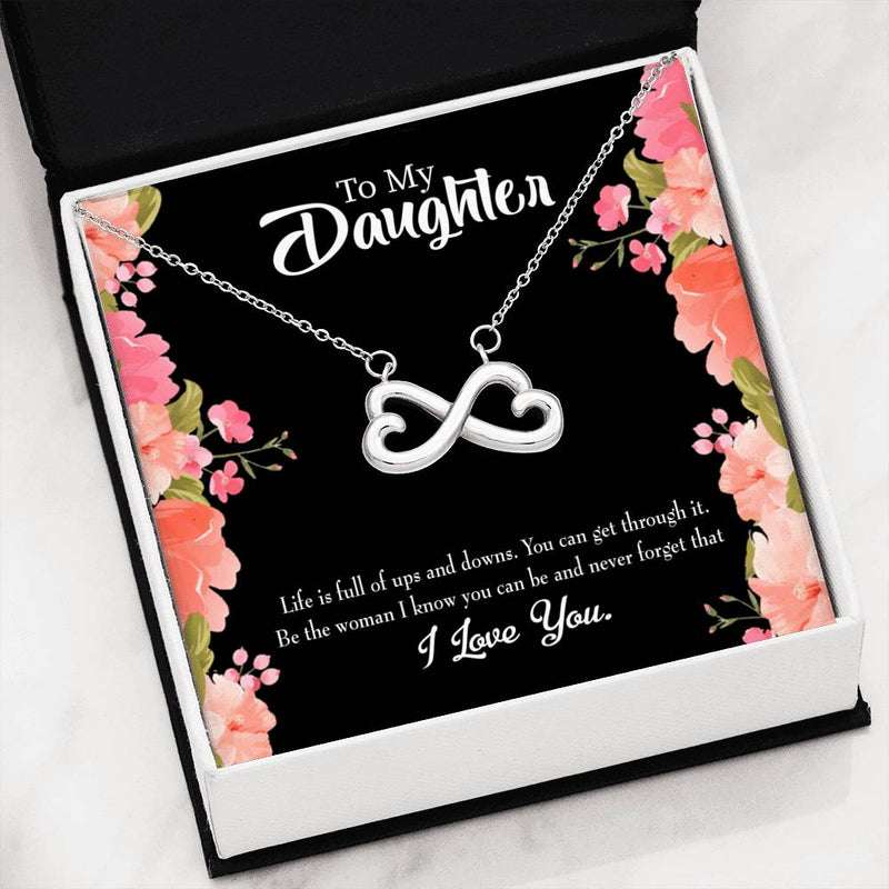 To My Daughter Be Strong, Infinity Love Necklace, Heartfelt Daughter Card & Pendant Stainless Steel or 18k Gold