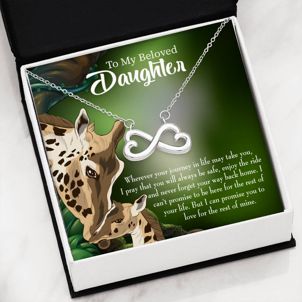 Daughter Mom Love is Eternal, Infinity Love Necklace, Heartfelt Daughter Card & Pendant Stainless Steel or 18k Gold