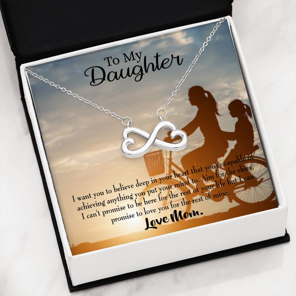 Believe, Love Mom, Infinity Love Necklace, Heartfelt Daughter Card & Pendant Stainless Steel or 18k Gold