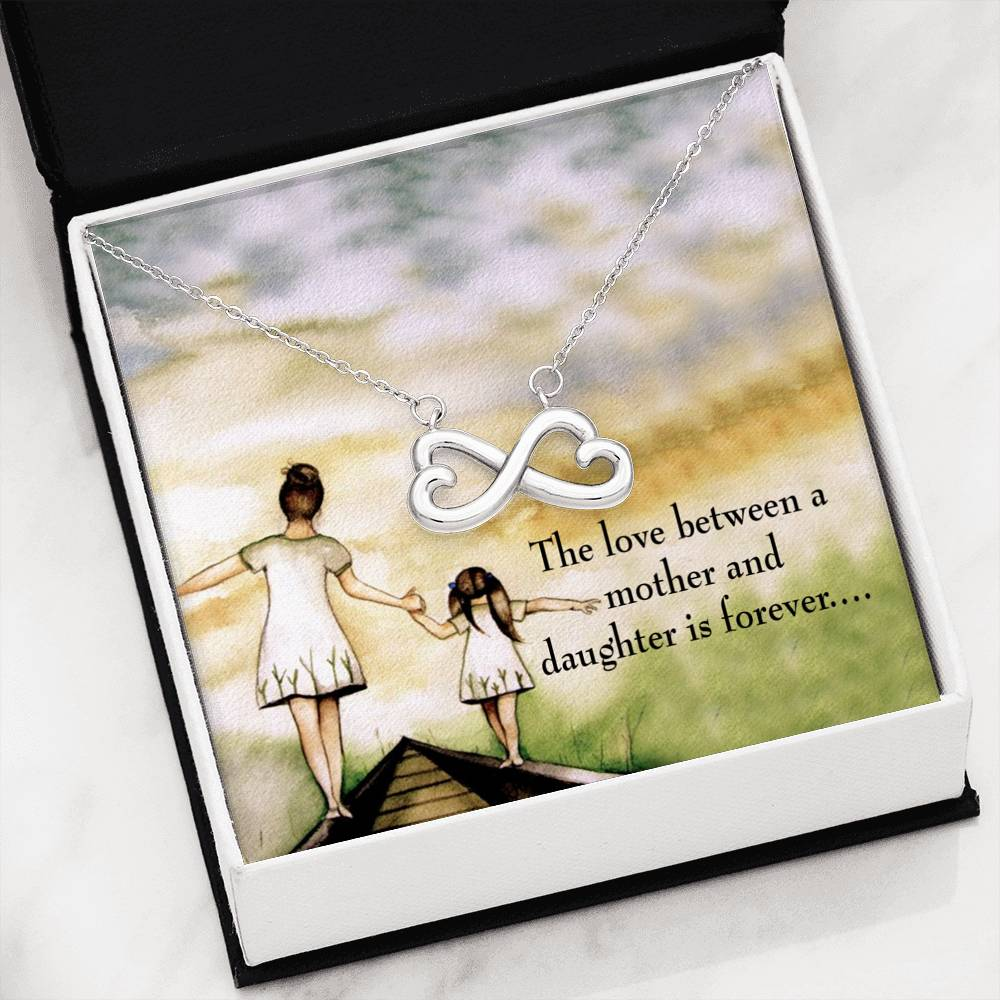 Mother Daughter Eternal Love, Infinity Love Necklace, Heartfelt Daughter Card & Pendant Stainless Steel or 18k Gold