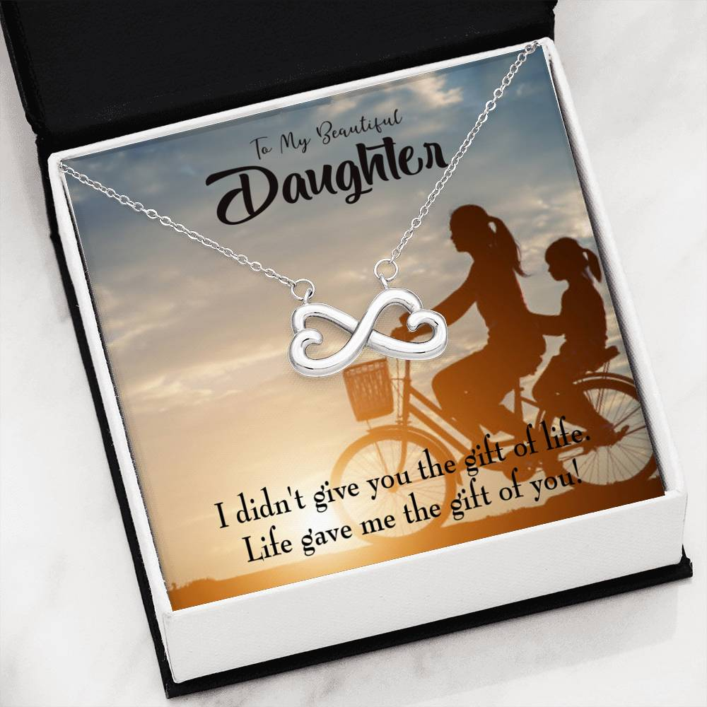 To My Daughter You are a Gift, Infinity Love Necklace, Heartfelt Daughter Card & Pendant Stainless Steel or 18k Gold