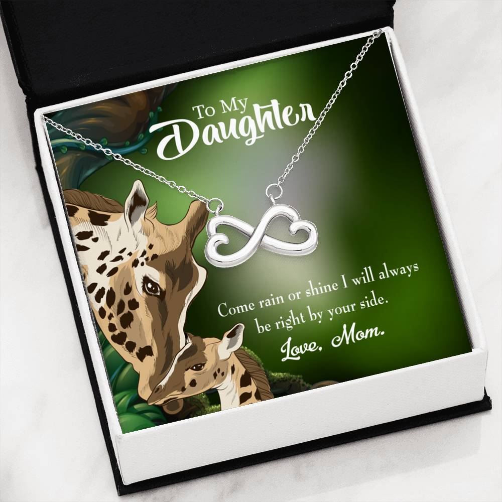 To My Daughter Rain or Shine, Infinity Love Necklace, Heartfelt Daughter Card & Pendant Stainless Steel or 18k Gold