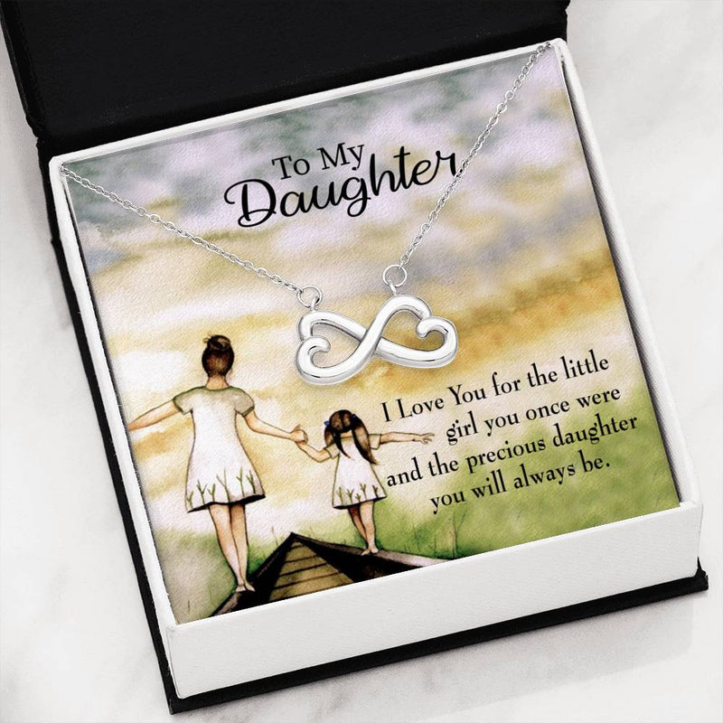 Mom's Precious Daughter,Infinity Love Necklace, Heartfelt Daughter Card & Pendant Stainless Steel or 18k Gold