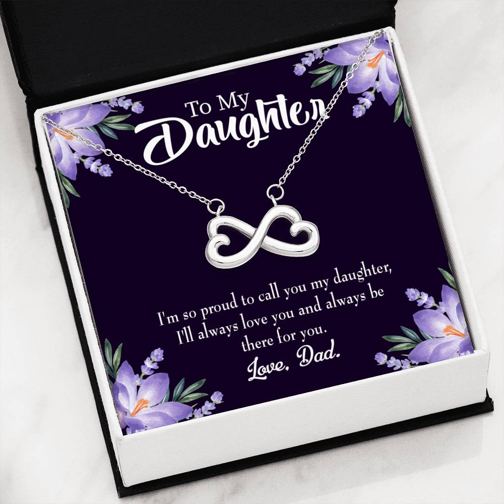 Proud Dad, Infinity Love Necklace, Heartfelt Daughter Card & Pendant Stainless Steel or 18k Gold