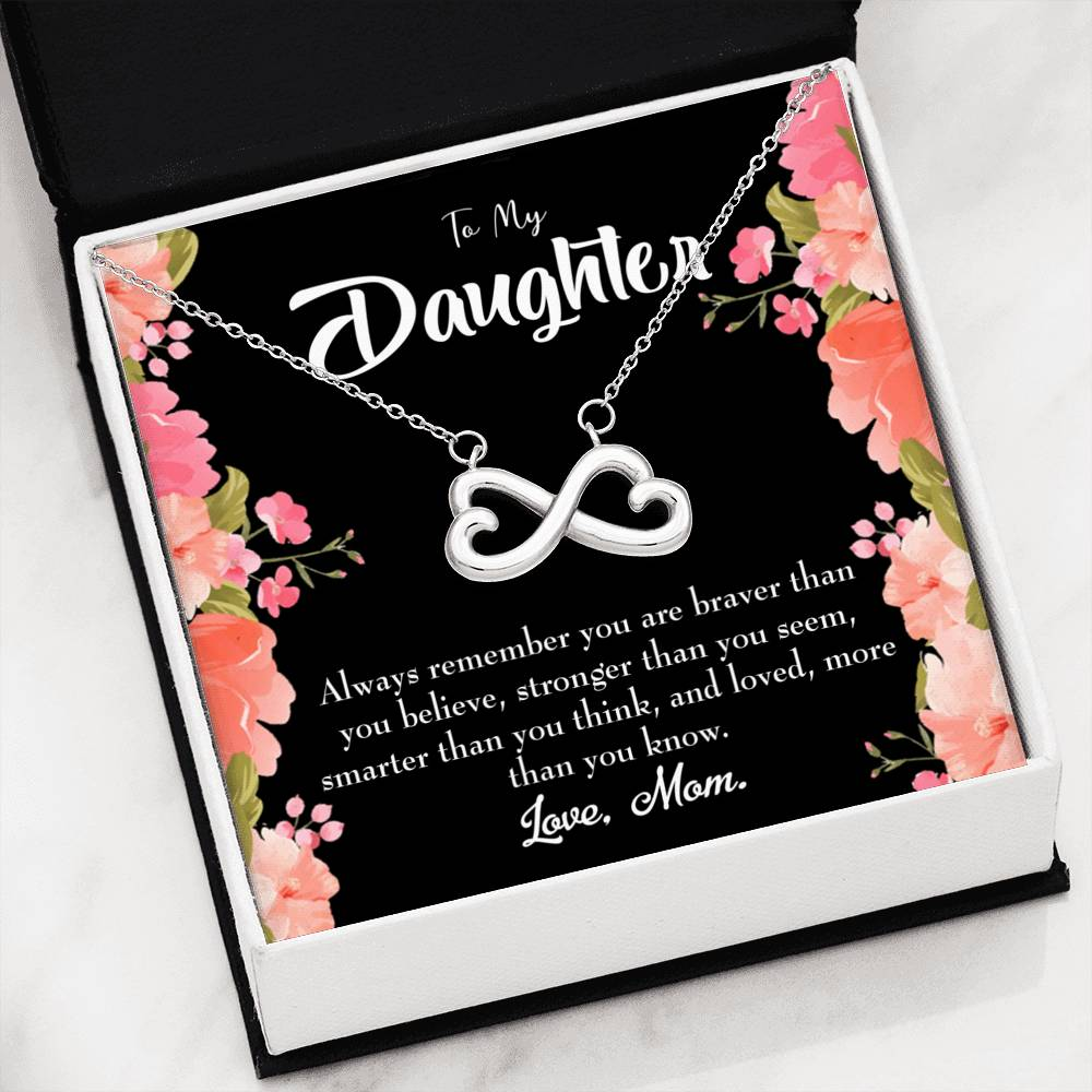 To My Daughter You are, Infinity Love Necklace, Heartfelt Daughter Card & Pendant Stainless Steel or 18k Gold
