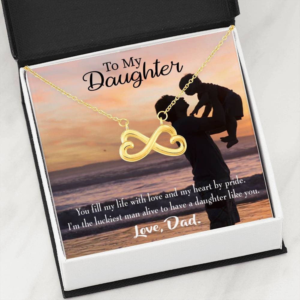 Luckiest Dad Infinity Love Necklace Heartfelt Daughter Card & Pendant Stainless Steel or 18k Gold - Express Your Love Gifts
