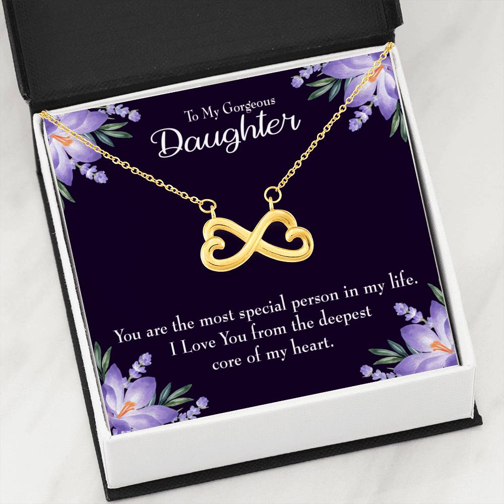 To my Gorgeous Daughter Infinity Love Necklace Heartfelt Daughter Card & Pendant Stainless Steel or 18k Gold - Express Your Love Gifts