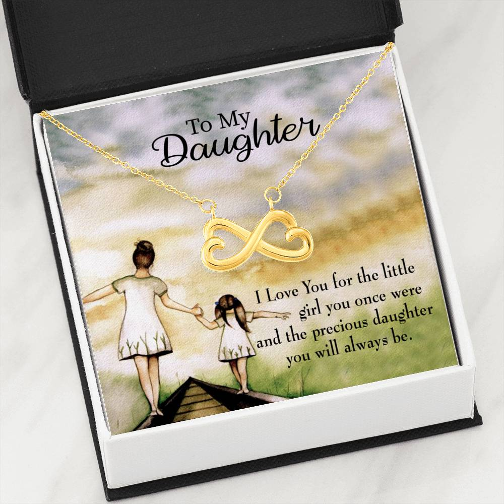 Mom's Precious Daughter Infinity Love Necklace Heartfelt Daughter Card & Pendant Stainless Steel or 18k Gold - Express Your Love Gifts