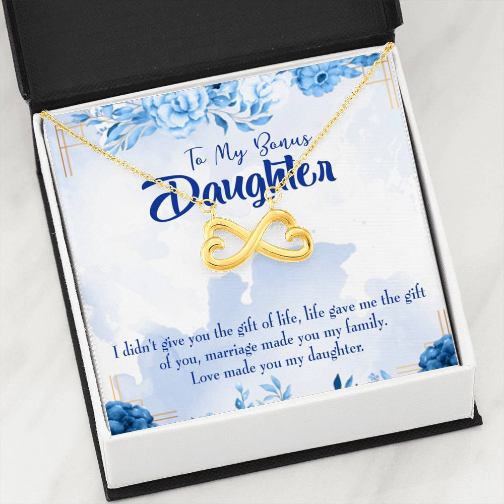 Bonus Daughter Infinity Love Necklace Heartfelt Daughter Card & Pendant Stainless Steel or 18k Gold - Express Your Love Gifts