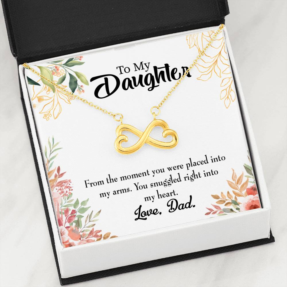 Snuggled into my Heart Dad Infinity Love Necklace Heartfelt Daughter Card & Pendant Stainless Steel or 18k Gold - Express Your Love Gifts