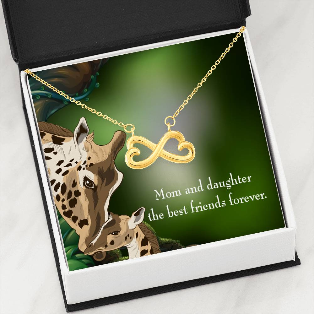 Mom and Daughter Best Friends Forever Infinity Love Necklace Heartfelt Daughter Card & Pendant Stainless Steel or 18k Gold - Express Your Love Gifts