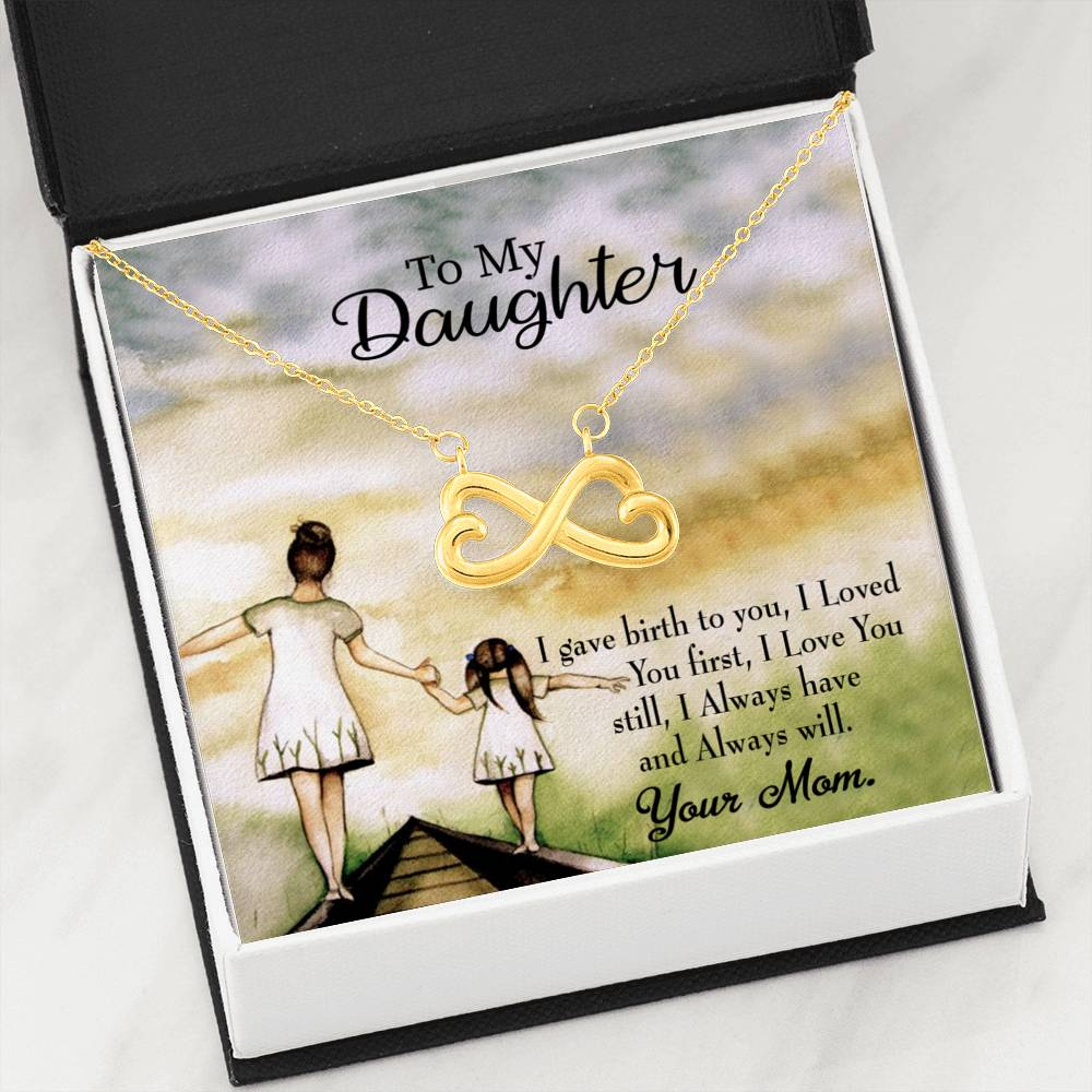 Mom Loved You First Infinity Love Necklace Heartfelt Daughter Card & Pendant Stainless Steel or 18k Gold - Express Your Love Gifts