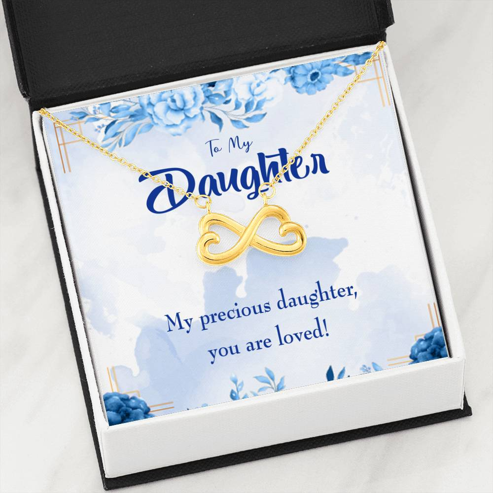 Precious Daughter Infinity Love Necklace Heartfelt Daughter Card & Pendant Stainless Steel or 18k Gold - Express Your Love Gifts