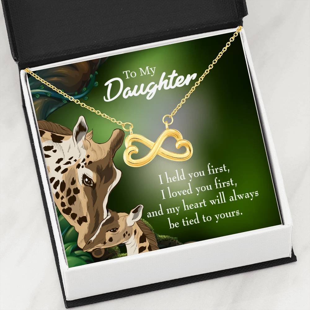 To My Daughter Tied to You Infinity Love Necklace Heartfelt Daughter Card & Pendant Stainless Steel or 18k Gold - Express Your Love Gifts
