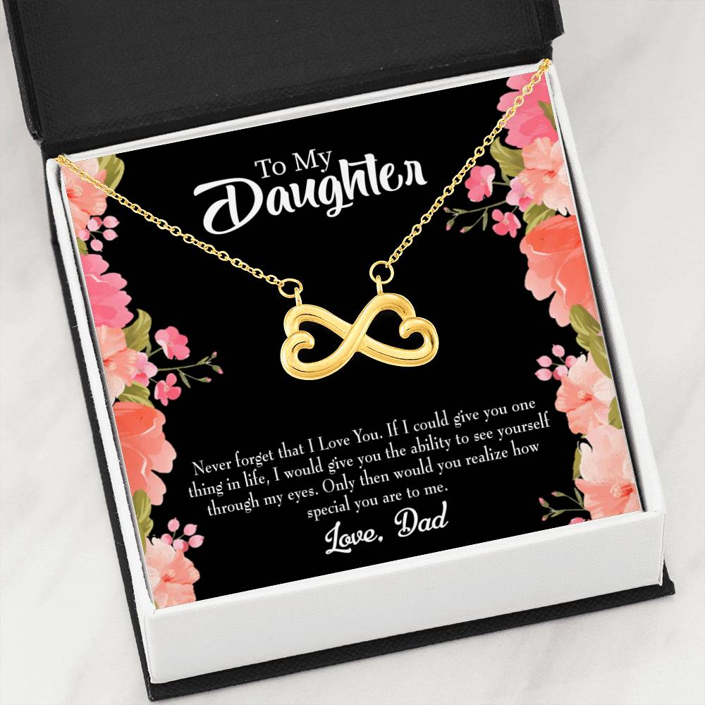 You are Special Dad to Daughter Infinity Love Necklace Heartfelt Daughter Card & Pendant Stainless Steel or 18k Gold - Express Your Love Gifts