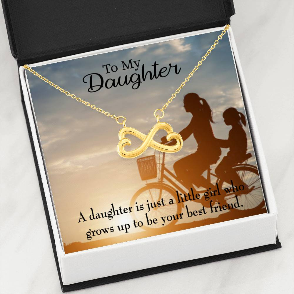 Mom's Little Girl Bestfriend Infinity Love Necklace Heartfelt Daughter Card & Pendant Stainless Steel or 18k Gold - Express Your Love Gifts
