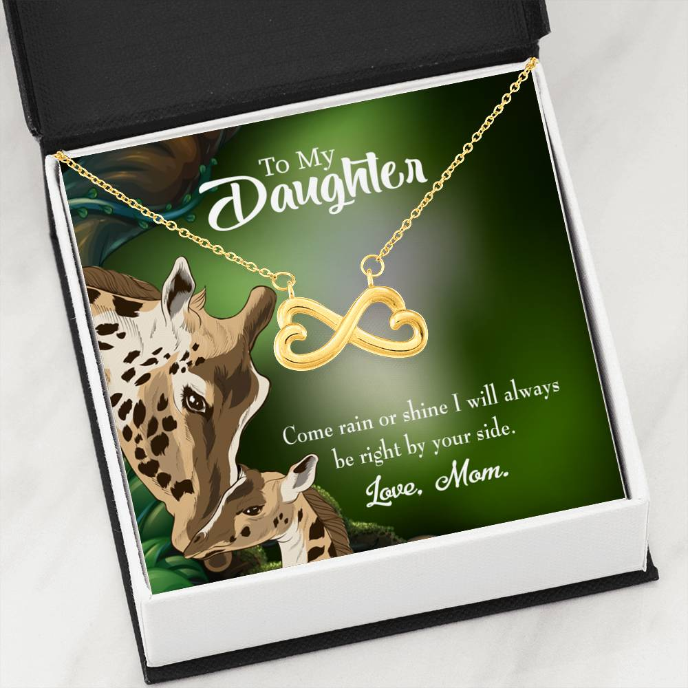 To My Daughter Rain or Shine Infinity Love Necklace Heartfelt Daughter Card & Pendant Stainless Steel or 18k Gold - Express Your Love Gifts