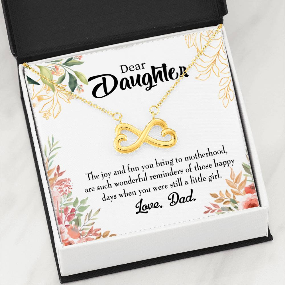 Wonderful Reminder Daughter Infinity Love Necklace Heartfelt Daughter Card & Pendant Stainless Steel or 18k Gold - Express Your Love Gifts