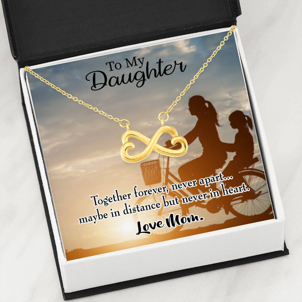 Together Forever Mother Daughter Infinity Love Necklace Heartfelt Daughter Card & Pendant Stainless Steel or 18k Gold - Express Your Love Gifts