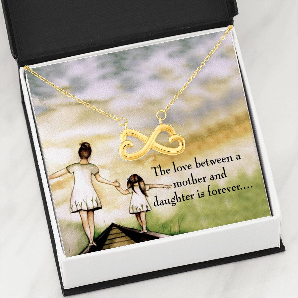 Mother Daughter Eternal Love Infinity Love Necklace Heartfelt Daughter Card & Pendant Stainless Steel or 18k Gold - Express Your Love Gifts