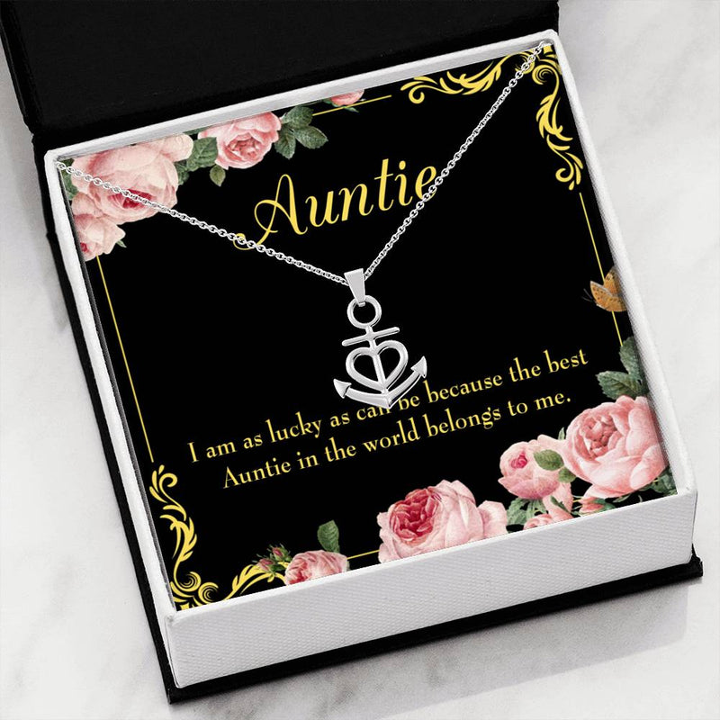 Best Auntie Aunt Gift Aunt Jewelry Anchor Necklace Stainless Steel Best Aunt Ever Pendant