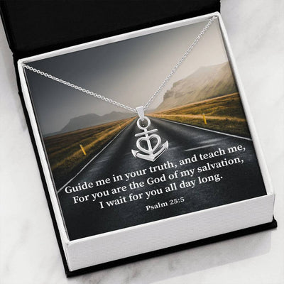 "Guide Me Lord Religious Gift Psalm 25:5 Anchor Necklace Stainless Steel 16-22"" Cable Chain"