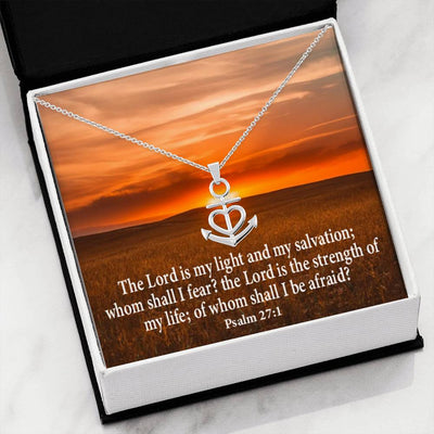 "Lord is My Salvation Religious Gift, Psalm 27:1, Anchor Necklace Stainless Steel 16-22"" Cable Chain"